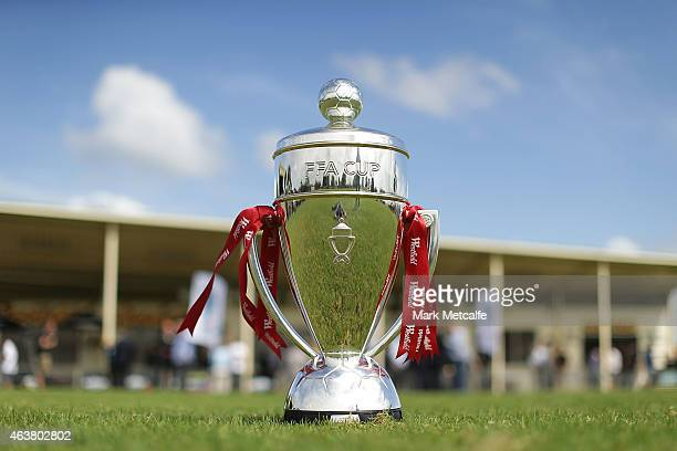 The FFA Cup trophy is seen during the official launch of the 2015 FFA Cup at Earlwood Wanderers FC Club House on February 19 2015 in Sydney Australia