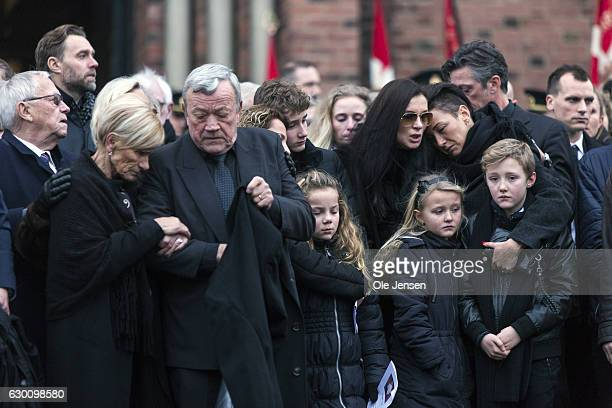 The fiancée after the state funeral of the murdered Danish police officer Jesper Jul on December 16 2016 in Roskilde Denmark The Prime Minister...