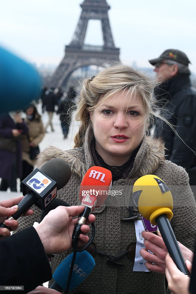 The fiancee of French hostage Pierre Legrand, Marion, speaks to reporters on March 16, 2013 during a protest in Paris to show support for the four French hostages kidnapped by Al-Qaeda in the Islamic Maghreb (AQMI) on September 16, 2010 in Niger and held in Mali. THOMAS