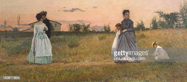 The Fiances or the Betrothed by Silvestro Lega oil on canvas 36x80 cm
