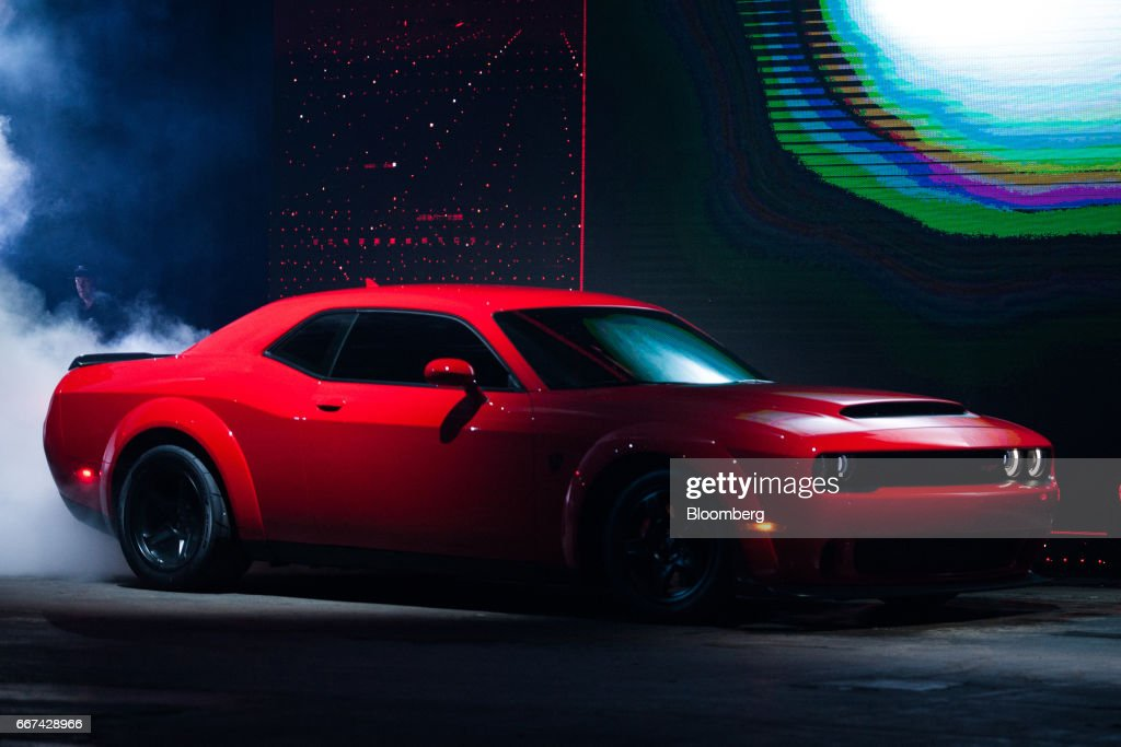 2018 chrysler demon.  2018 the fiat chrysler automobiles nv 2018 dodge challenger srt demon sports  vehicle stands on display during with chrysler demon