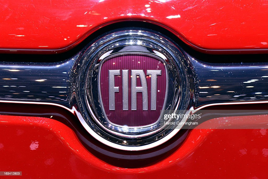 The Fiat logo is seen during the 83rd Geneva Motor Show on March 6, 2013 in Geneva, Switzerland. Held annually with more than 130 product premiers from the auto industry unveiled this year, the Geneva Motor Show is one of the world's five most important auto shows.