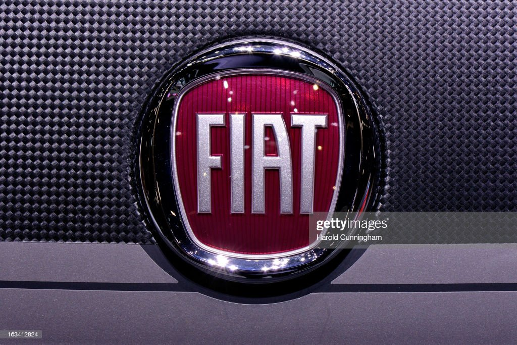 The Fiat logo is seen during the 83rd Geneva Motor Show on March 6 2013 in Geneva Switzerland Held annually with more than 130 product premiers from...