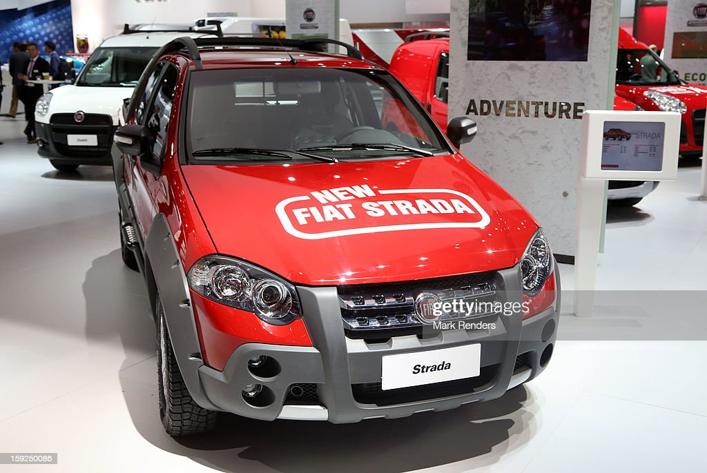 The Fiat Strada is displayed at the 91st edition of the European Motor Show at Brussels Expo on January 10, 2013 in Brussels, Belgium.