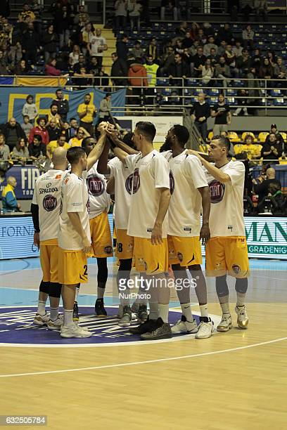 The Fiat Torino team during Italy Lega Basket of Serie A match between Fiat Torino v Sidigas Avellino in Turin on january 22 2017