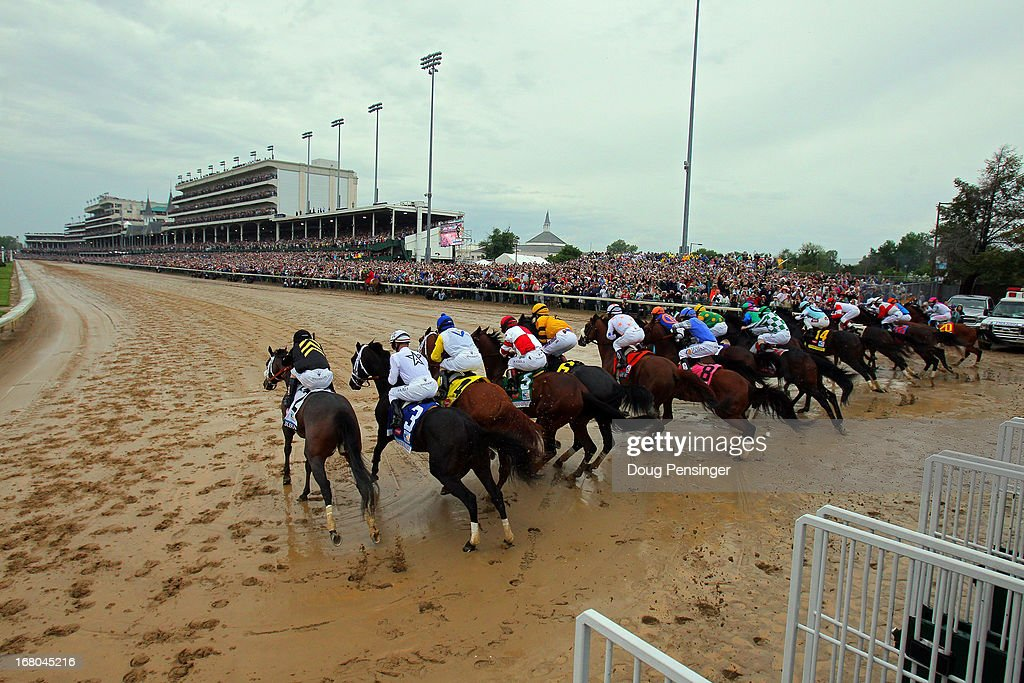 The field comes out of the gate to start the 139th running of the Kentucky Derby at Churchill Downs on May 4, 2013 in Louisville, Kentucky.