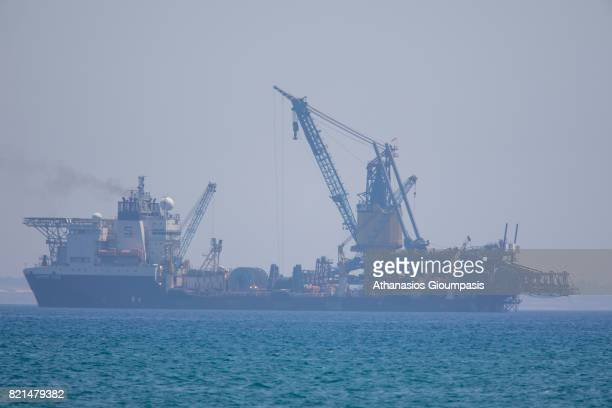 The Field Development Ship Saipem FDS in Larnaca port on July 12 2017 in Larnaca CyprusEni has awarded Saipem a contract for the drilling of two...