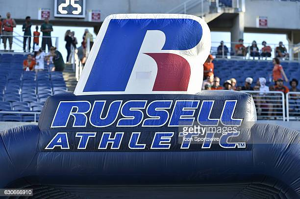 The field entrance displaying the Russell Athletic logo prior to the Russell Athletic Bowl game between the West Virginia Mountaineers and the Miami...