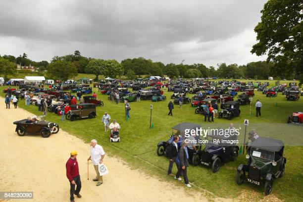 The field fills up with entries at the 50th Austin Seven rally at the National Motor Museum in Beaulieu Hampshire
