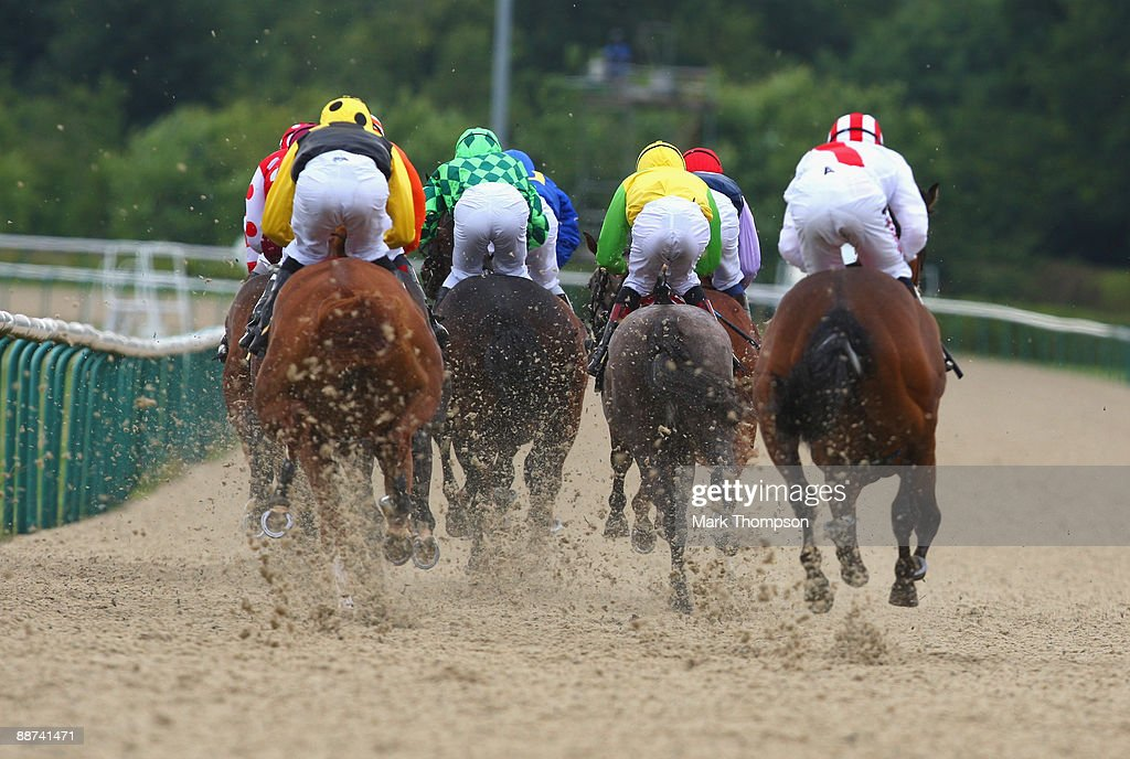 The field heads down the back straight in the European Breeder's Fund Maiden Stakes race at Dunstall Park on on June 29 2009 in Wolverhampton England