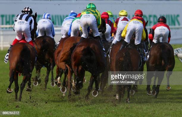 The field in The James Boag's Australian Oaks race during The Championships Day 2 at Royal Randwick Racecourse on April 8 2017 in Sydney Australia
