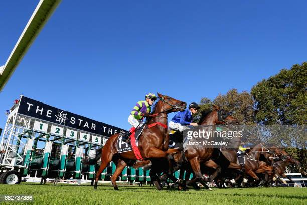 The field jump from the barriers during the The Star Doncaster Mile at The Championships Day 1 at Royal Randwick Racecourse on April 1 2017 in Sydney...