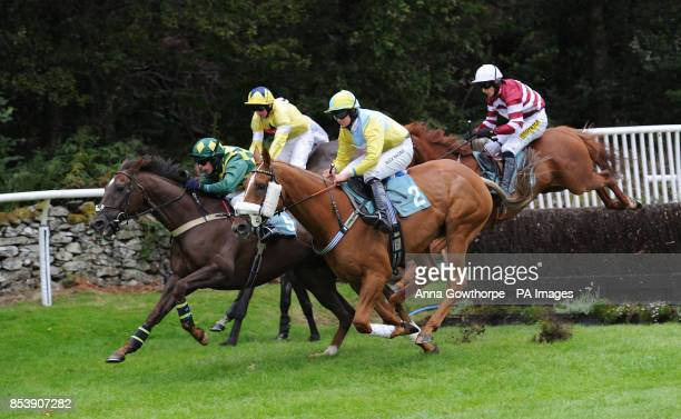 The field makes its way over a fence during the Win a Mini Handicap Steeple Chase at Cartmel Racecourse Cartmel Cumbria