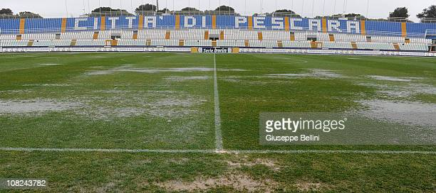 The field of Adriatico Stadium before the Serie B match between Pescara and Empoli at Adriatico Stadium on January 22 2011 in Pescara Italy