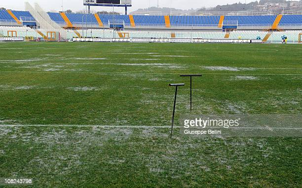 The field of Adriatico Stadium is water logged before the Serie B match between Pescara and Empoli at Adriatico Stadium on January 22 2011 in Pescara...