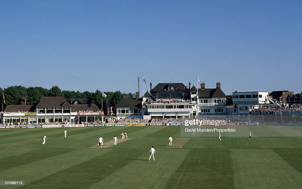 The field of play and the pavilion during the 2nd Texaco Trophy One Day International match between England and Australia at Trent Bridge in Nottingham, 27th May 1989. The match ended in a tie.