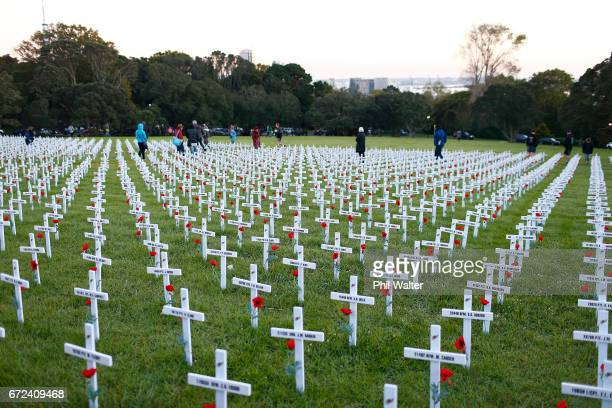 The Field of Rememberance following the Dawn Service at the Auckland War Memorial Museum on April 25 2017 in Auckland New Zealand In 1916 the first...