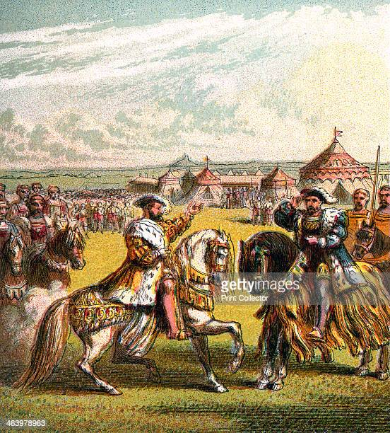 The Field Of The Cloth Of Gold Lavishly decorated tents were constructed at the field of the Cloth of Gold the meeting place near Calais in France...