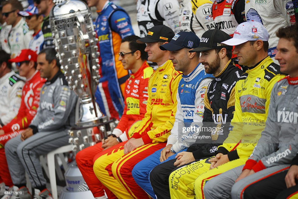 The field poses for a photo as they prepare to drive on Carb Day ahead of the 100th running of the Indianapolis 500 at Indianapolis Motorspeedway on May 27, 2016 in Indianapolis, Indiana.