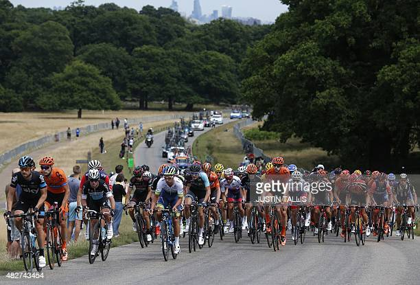 The field ride through Richmond Park west of London during the Ride London Surrey Classic road cycle race on August 2 2015 AFP PHOTO / JUSTIN TALLIS