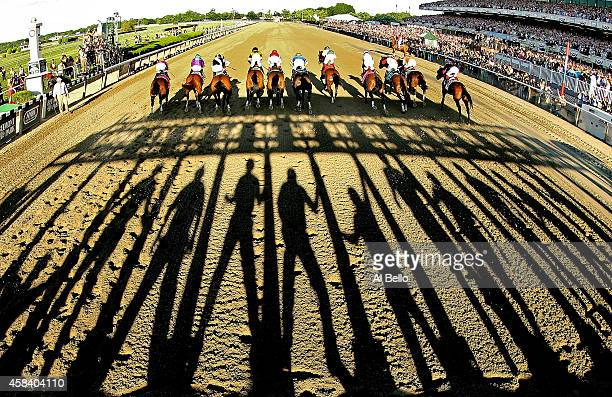The field starts the 146th running of the Belmont Stakes at Belmont Park on June 7 2014 in Elmont New York