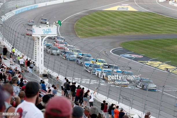 The field takes the green flag on a restart during the Las Vegas 350 NASCAR Camping World Truck Series race on September 30 2017 at Las Vegas Motor...