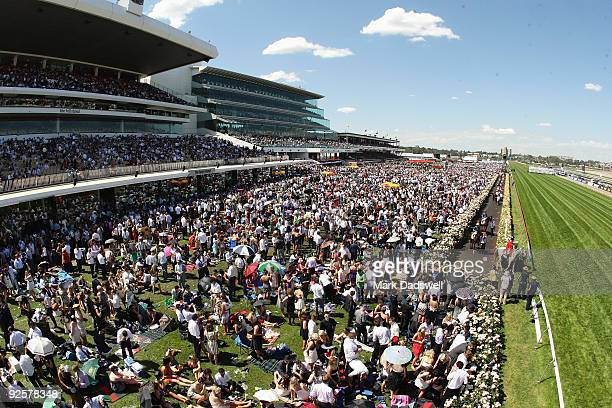 The field walk to the track in front of a huge crowd for the AAMI Victoria Derby during the 2009 Victoria Derby Day meeting at Flemington Racecourse...