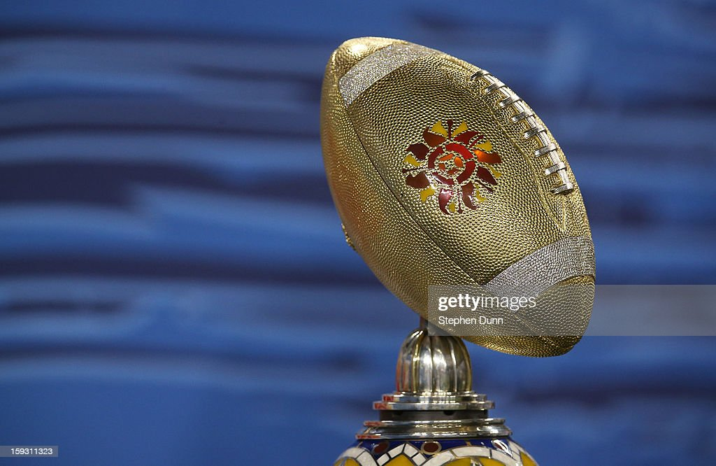 The Fiesta Bowl trophy is displayed during the Tostitos Fiesta Bowl between the Oregon Ducks and the Kansas State Wildcats at University of Phoenix Stadium on January 3, 2013 in Glendale, Arizona.
