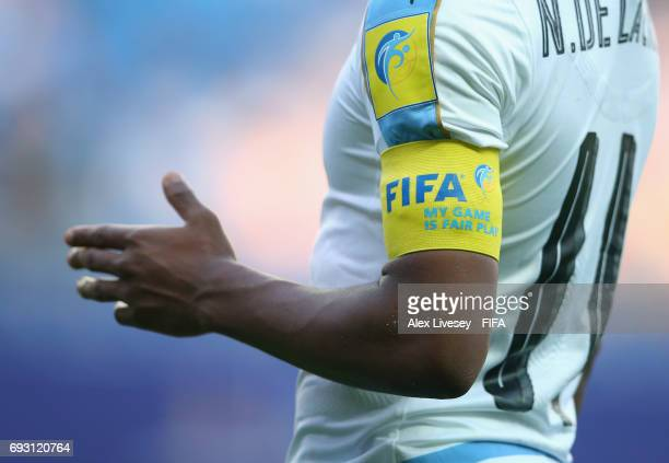 The FIFA captain's armband is seen on Nicolas de la Cruz of Uruguay during the FIFA U20 World Cup Korea Republic 2017 Quarter Final match between...