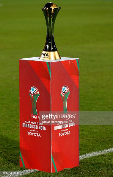 The FIFA Club World Cup trophy prior to the FIFA Club World Cup Final match between Real Madrid CF and San Lorenzo at Le Grand Stade de Marrakech on...
