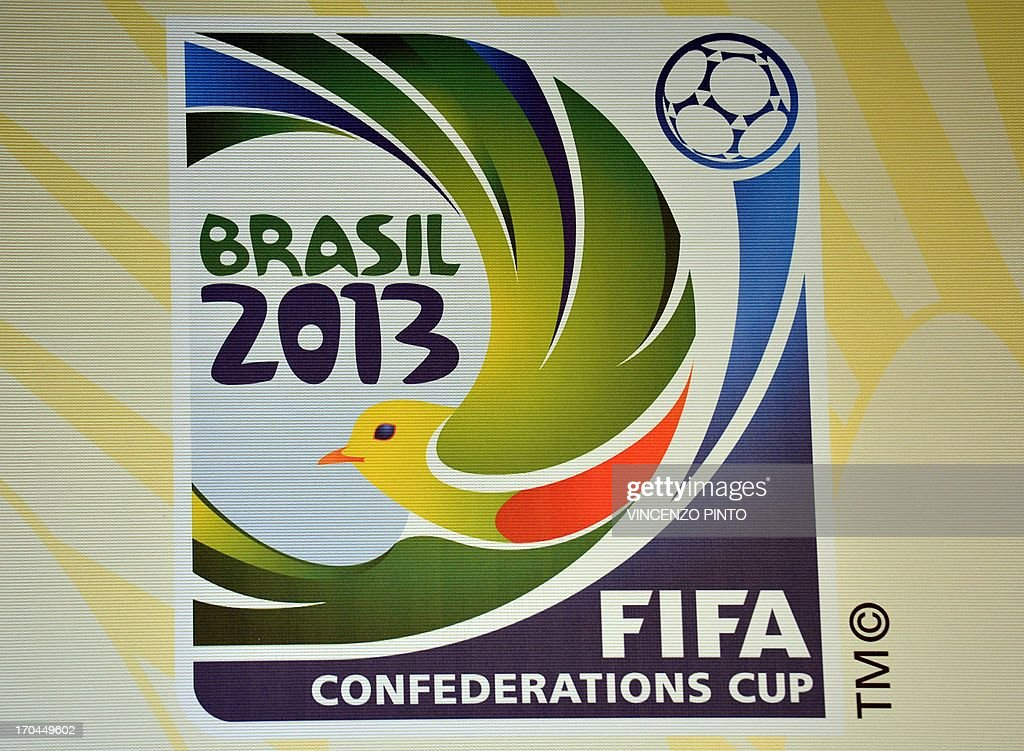 The FIFA Confederation Cup logo is seen during a media briefing following a FIFA Confederations Cup Organization Committee meeting in Rio de Janeiro on June 13, 2013.