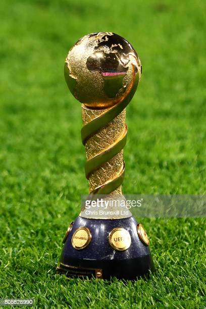 The FIFA Confederations Cup trophy sits on the pitch following the FIFA Confederations Cup Russia 2017 Final match between Chile and Germany at Saint...