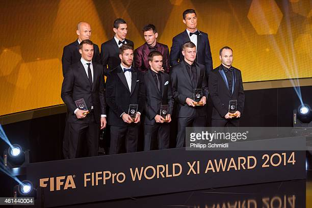 The FIFA FIFPro World XI for 2014 receive their awards during the FIFA Ballon d'Or Gala 2014 at the Kongresshaus on January 12 2015 in Zurich...