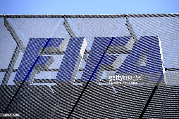 The FIFA logo is seen at the headquarters of the Football's world governing body on July 17 2012 in Zurich FIFA meets to discuss the appointment of...