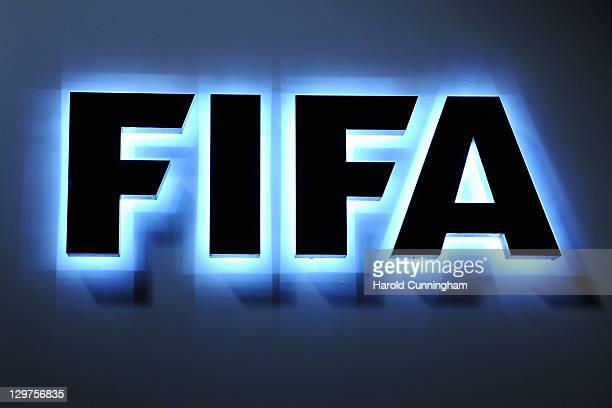 The FIFA logo is seen outside the FIFA headquarters during to the FIFA Executive Committee Meeting on October 20 2011 in Zurich Switzerland During...
