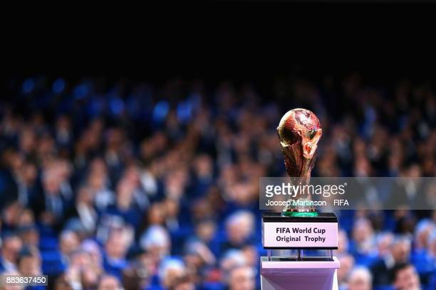 The FIFA Original World Cup Trophy is seen during the Final Draw for the 2018 FIFA World Cup Russia at the State Kremlin Palace on December 1 2017 in...