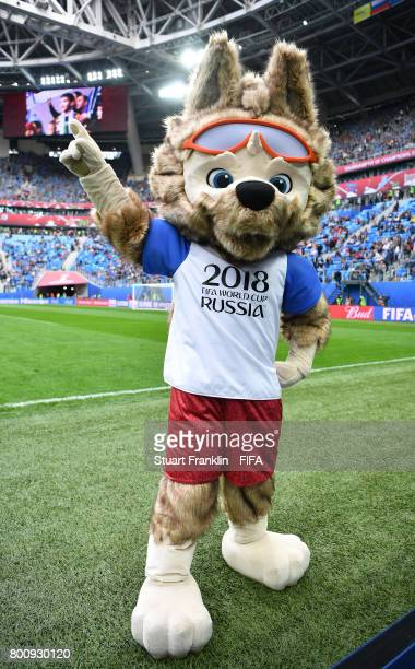 The FIFA Russia 2018 World Cup mascot Zabivaka is seen during the FIFA Confederation Cup Group A match between New Zealand and Portugal at Saint...