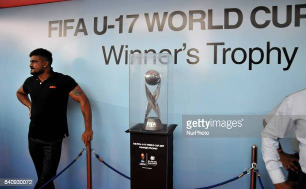 The FIFA U17 World Cup 2017 Winners Trophy visit in Kolkata City on August 302017 in India The trophy tour will cover almost 9000 km over a period of...