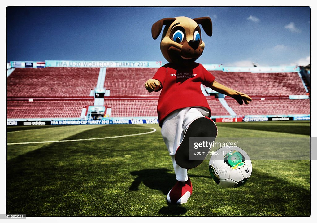 The FIFA U-20 mascot prior to the FIFA U-20 World Cup Group D match between Greece and Paraguay at Huseyin Avni Aker Stadium on June 28, 2013 in Trabzon, Turkey.