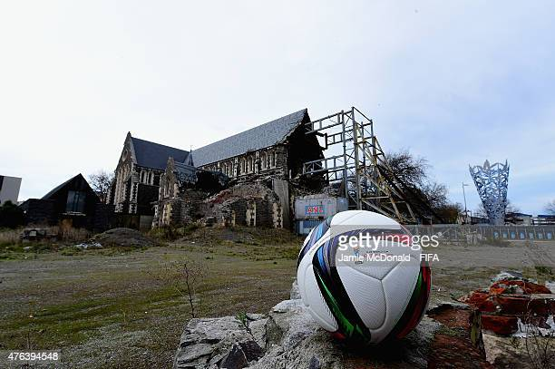 The FIFA U20 World Cup match ball is pictured with the Christchurch Cathedral on June 9 2015 in Christchurch New Zealand