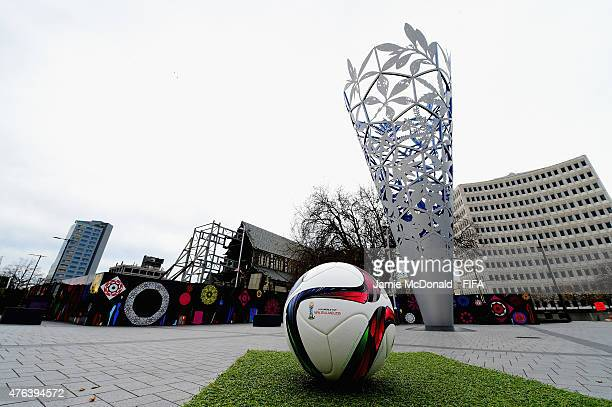 The FIFA U20 World Cup match ball is pictured with the Christchurch Cathedral and the Eternal flame on June 9 2015 in Christchurch New Zealand