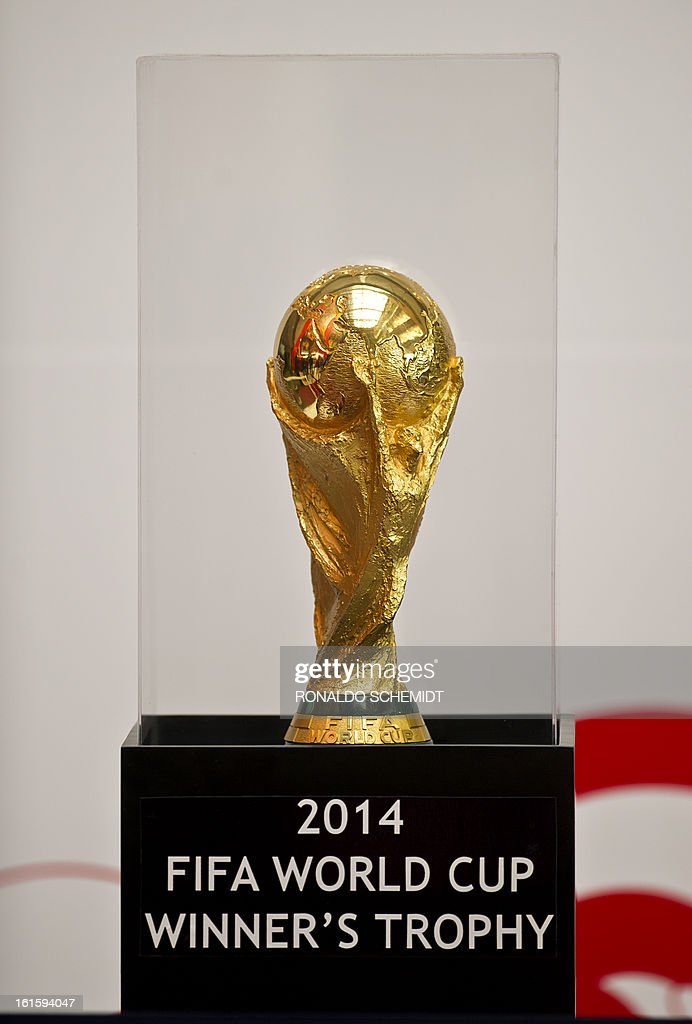The FIFA World Cup 2014 trophy is displayed at the Mexican Congress in Mexico City, on February 12, 2013. The trophy was displayed for congressmen and visitors of the congress. AFP PHOTO/Ronaldo Schemidt