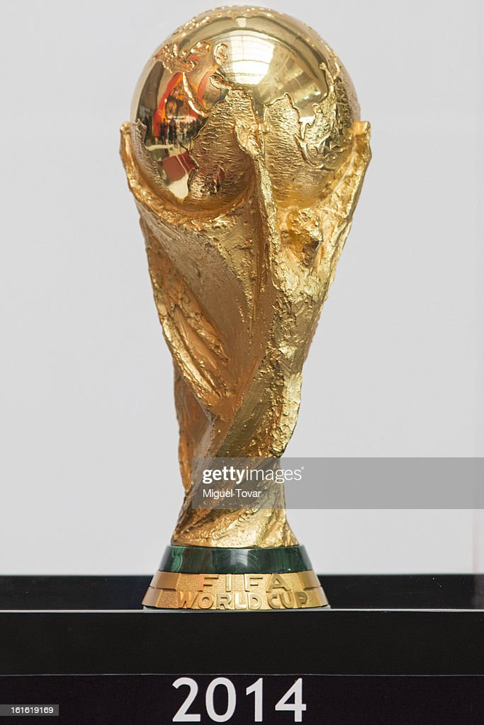 The FIFA World Cup trophy is displayed at the Mexican Congress on February 12, 2013 in Mexico City, Mexico.