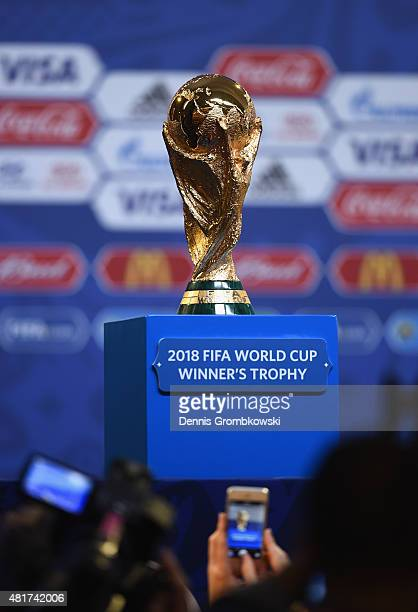 The FIFA World Cup trophy is displayed during a press conference ahead of the preliminary draw of the 2018 FIFA World Cup in Russia at Konstantin...