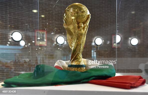 The FIFA World Cup Trophy is displayed during an exhibition of Italian Football Federation Trophies and Memorabilia at Istituto Oncologico di...