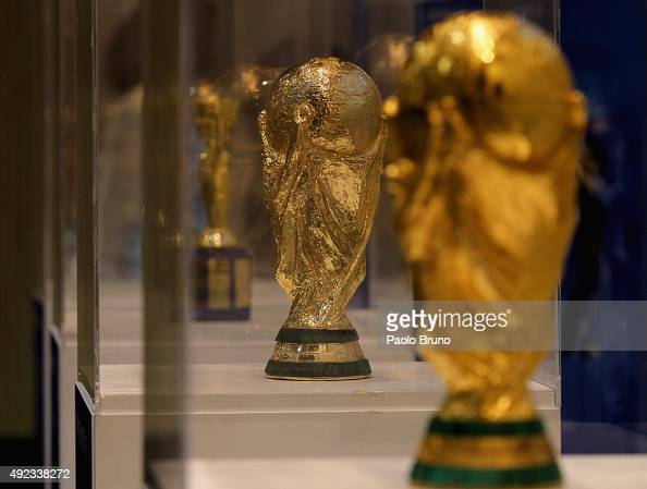 The FIFA World Cup Trophy is displayed during the Italian Football Federation trophies exhibition at the 'Aldo Fabrizi' cultural center on October 12...