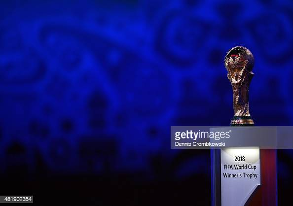 The FIFA World Cup trophy is displayed the Preliminary Draw of the 2018 FIFA World Cup in Russia at The Konstantin Palace on July 25 2015 in Saint...