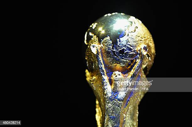 The FIFA World Cup trophy on display during the 64th FIFA Congress at the Transamerica Expo Center on June 11 2014 in Sao Paulo Brazil