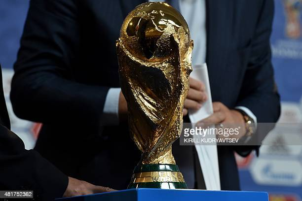 The FIFA World Cup trophy stands on a podium at a hall close to the Constantine Palace in St Petersburg on July 24 2015 on the eve of the Preliminary...