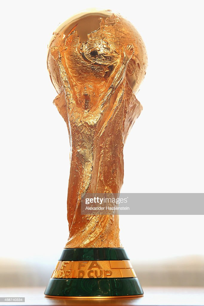 The FIFA World Cup Winners Trophy is displayed priorto the Silbernes Lorbeerblatt Award Ceremony at Schloss Bellevue Palace on November 10 2014 in...